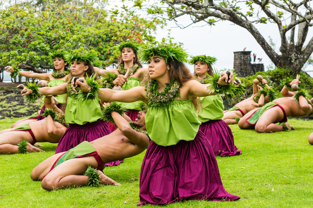 Halau performing Hula in the park -  Hawaii Tourism Authority (HTA) / Tor Johnson