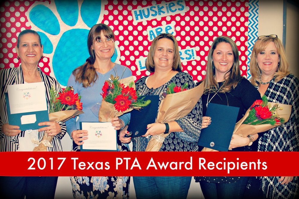 Four special members of our Huebner community were recognized at the general PTA meeting on Tuesday night as recipients of the 2017 Texas PTA Awards.  They are, pictured from left to right with Mrs. Pierce:            Marta Galaviz, Life Membership Award            Susan Hamilton, Life Membership Award            Jolene Hidalgo, Life Membership Award            Kara Mowrey, Extended Service Award.         These awards are two of the highest honors that may be presented to individuals for outstanding service to children and youth, by Texas PTA. Award recipients do not have to be a PTA member, nor must the service for which the honor has been bestowed be connected with the PTA.            These recipients are a distinguished group, each giving instinctively of their time, talent and resources. They have been nominated by members of this community through a formal and open process that took place in November.                 Congratulations to Huebner's 2017 PTA Award Recipients.