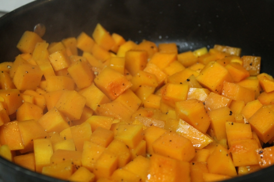 Having the lid on the pan made the squash cook faster and prevented it from drying out.