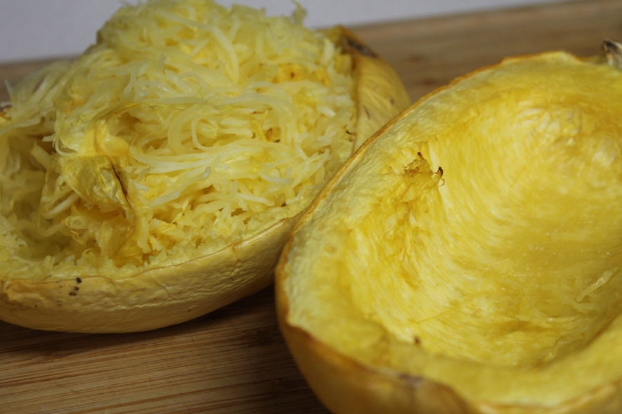 Roasted spaghetti squash comes out al dente, which is my favorite way to eat pasta. Soft yet a little crunch - absolutely perfect.