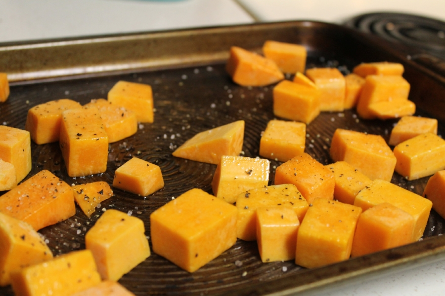 Making roasted butternut squash on these sheets makes for really easy clean up.