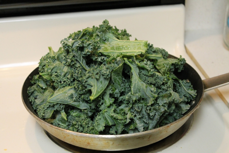 I know this looks like a lot of kale, but it wilts down quickly in the hot pan.