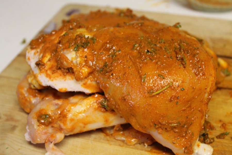 If you want to have a more intense flavor of the spices on the chicken, rub on the chicken a couple of hours before or even the night before. The turmeric and spicy cayenne will really get into the meat, but rubbing it on the meat right before it goes into the slow cooker is perfectly fine.