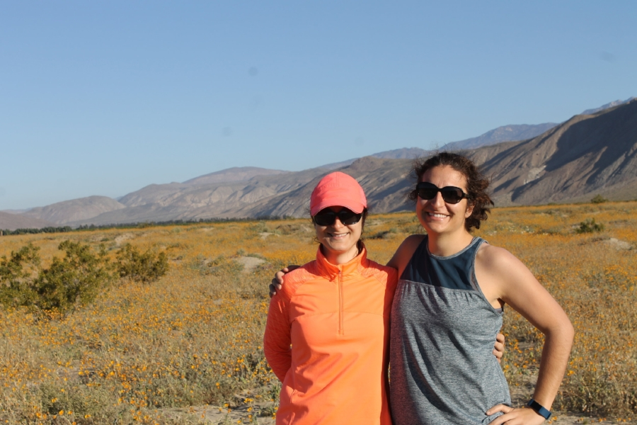My sister and I both share a passion for health and outdoorsy lifestyle. One thing we do not share is equal height - it is hard to tell, but I am actually standing on higher ground and she is still taller than me. But hey, I tried to blend in with the orange poppies!