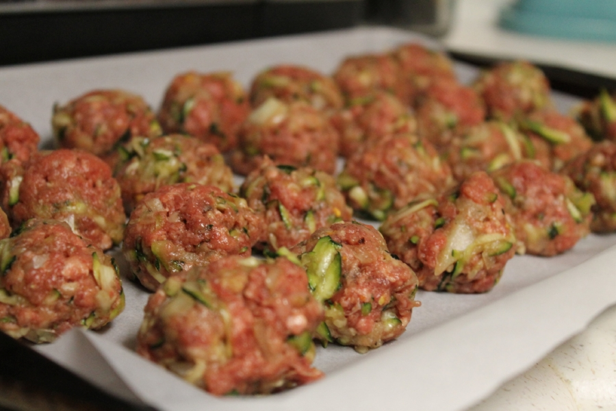 I love using zucchini in place of bread crumbs for meatballs. Even after squeezing out probably half a cup of water out of the zucchini, my meatballs were still very tender and moist. Sneaking in extra vegetables is always a great idea and just adds an extra layer of flavor to the meatballs.