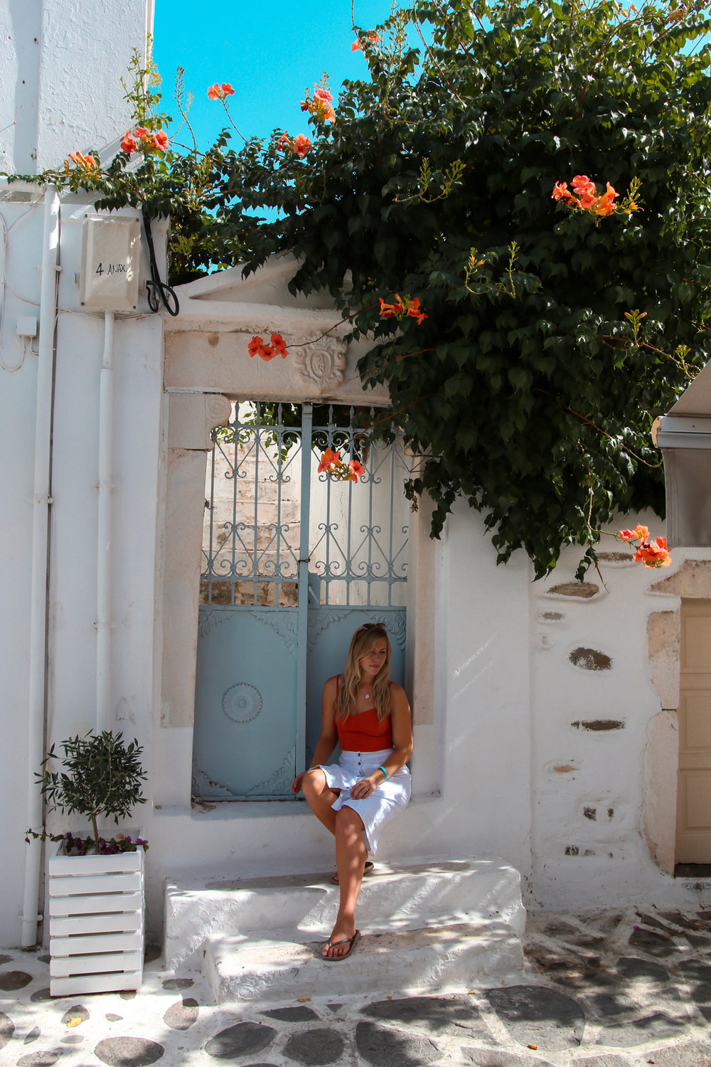 Hanging out in the beautiful streets of Paros