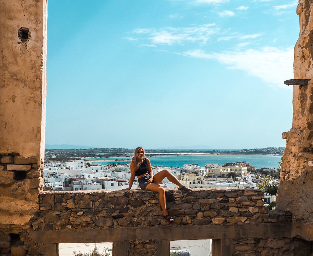 Finding a hidden spot to take in the view of Naxos