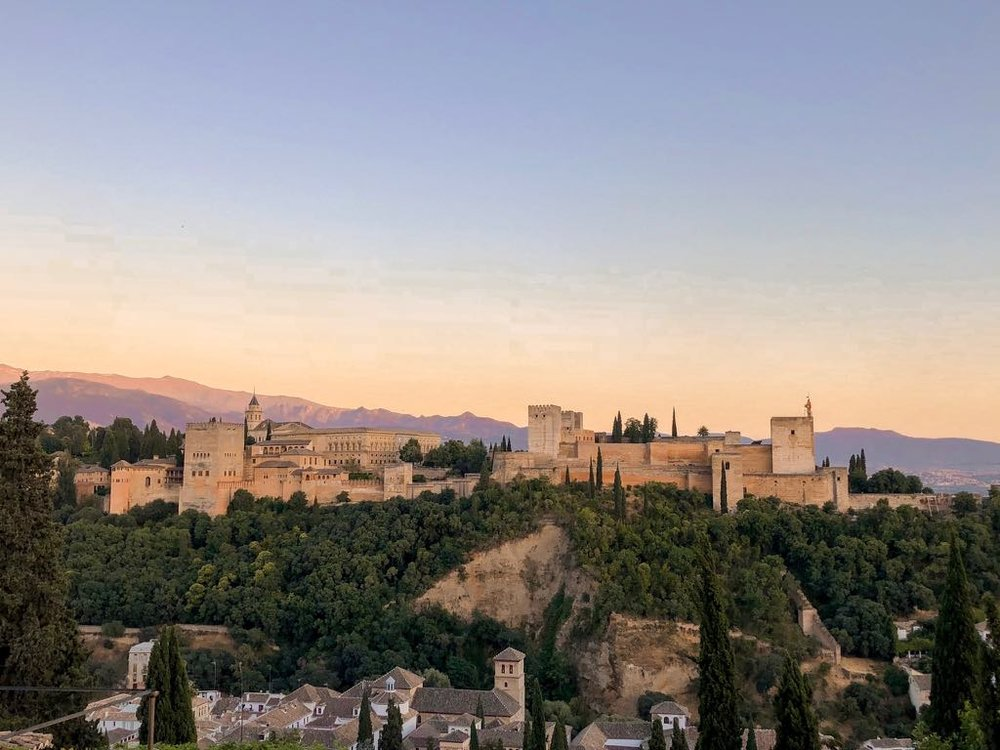 View of the Alhambra of Granada from afar