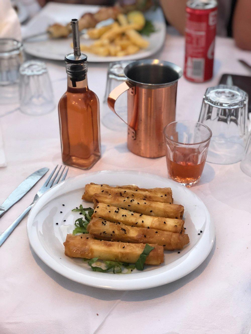 delicious fried feta in Greece