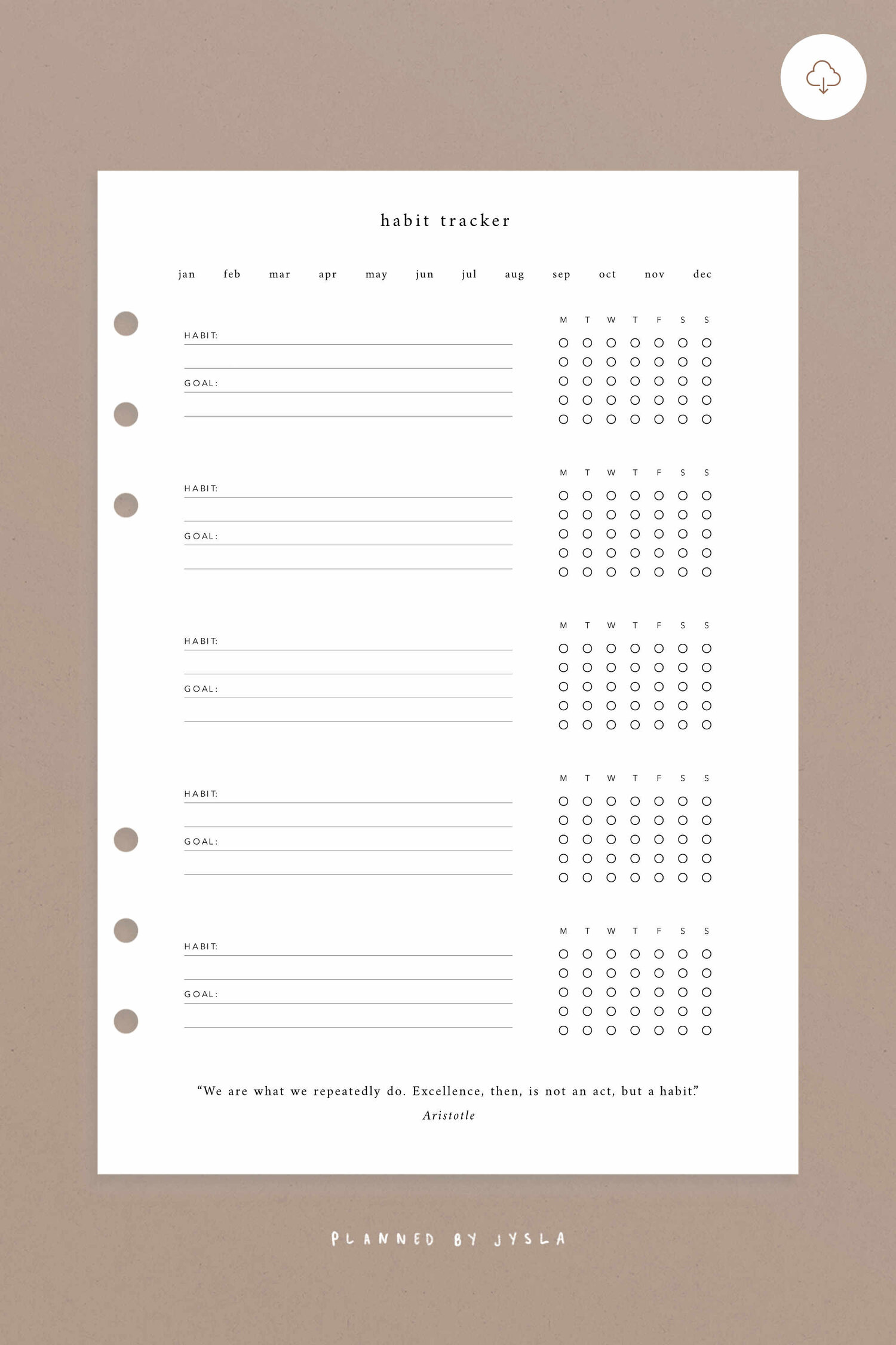 Monthly Habit Tracker A5 Planned By Jysla