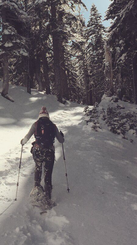 Snowshoeing toward Mammoth Rock Trail
