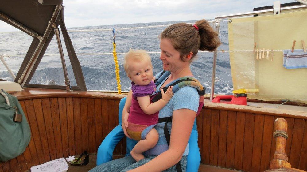 Charlotte Kaufman sailing with daughter Lyra Kaufman
