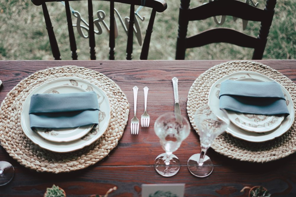 Rustic wooden farm table + rustic tablescape (Photo by Ever After Moments)