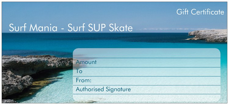 Rockingham Surf Shop Paddle Board Gift Card