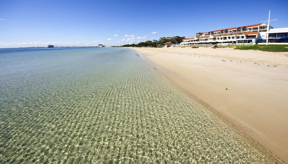 The stunning Rockingham Beach where you can go paddle boarding!