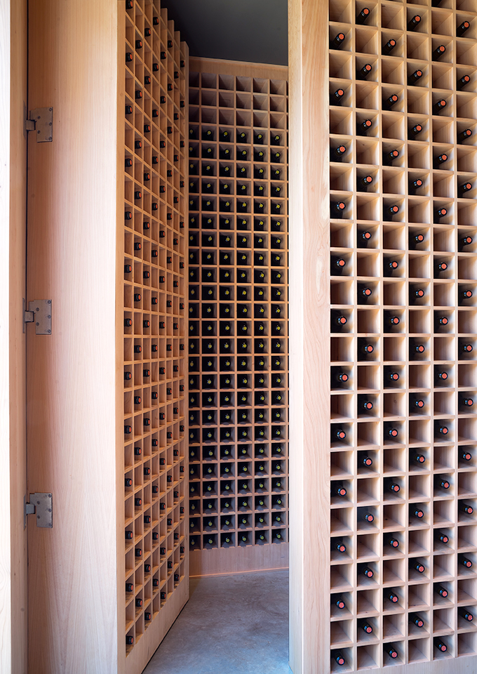 UNFINISHED CYPRESS PIVOTING WINE STORAGE WALLS