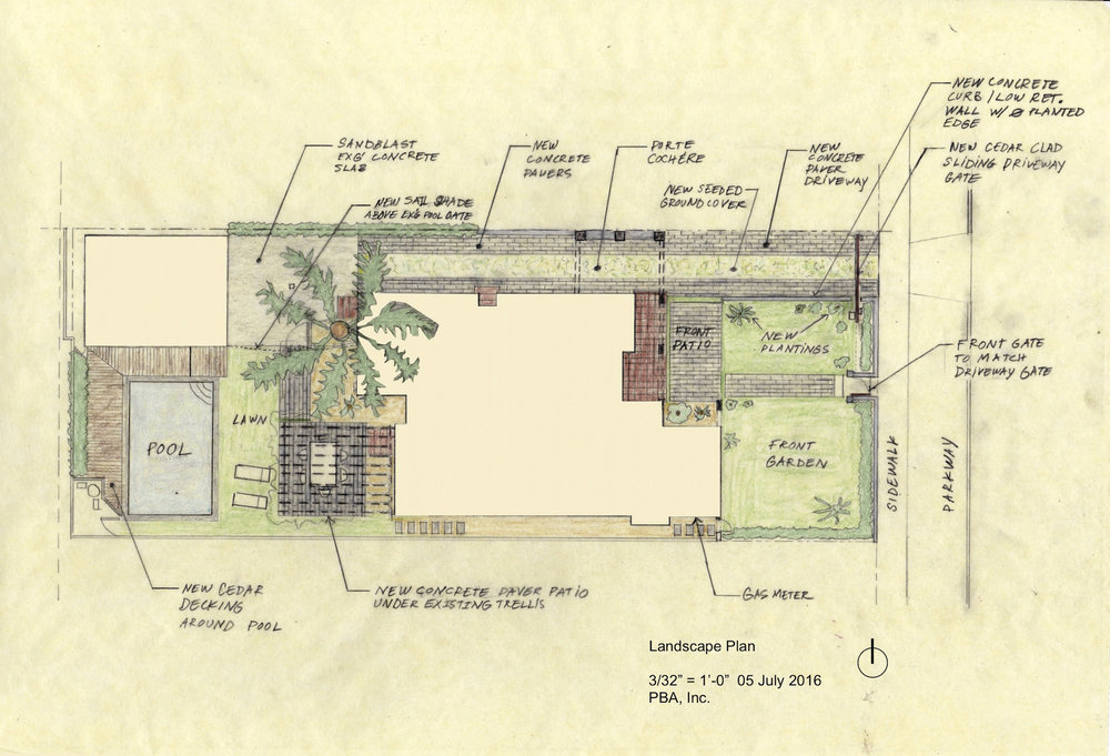 SWEETZER RESIDENCE (Mid-City, Los Angeles, CA)- PAVER PLAN AND PLANTINGS