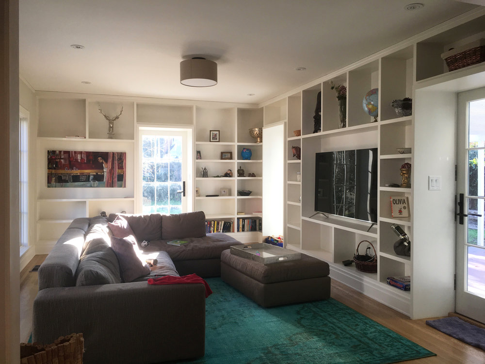 NEW CUSTOM PAINTED WOOD BUILT-IN BOOKCASES & NEW PATIO DOORS WITH CUSTOM LOCKSETS