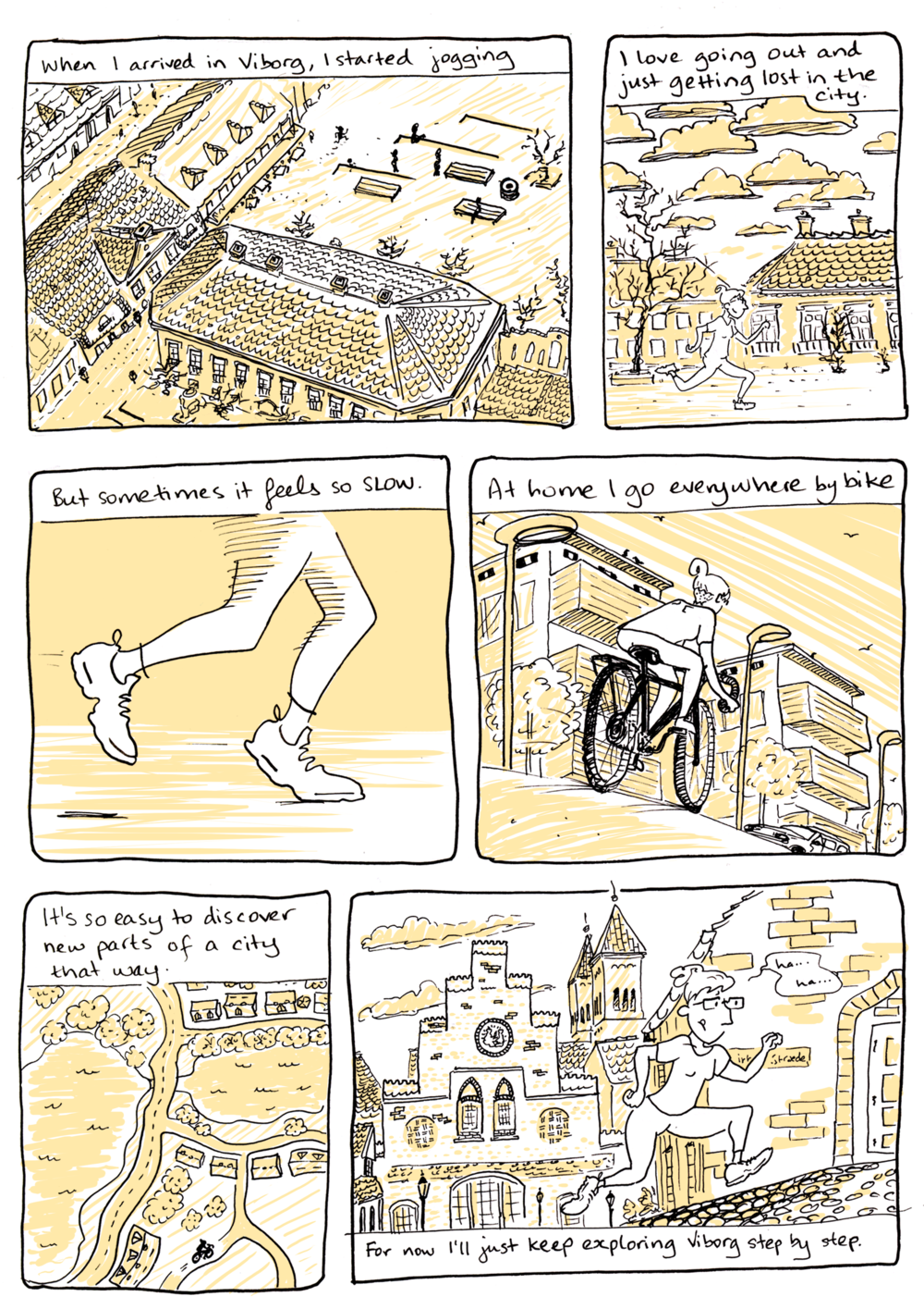 This comic seems to imply that I go running with any kind of regularity. In reality, I sit around and draw about how I ought to go running, and consider that mental exercise to be sufficient.