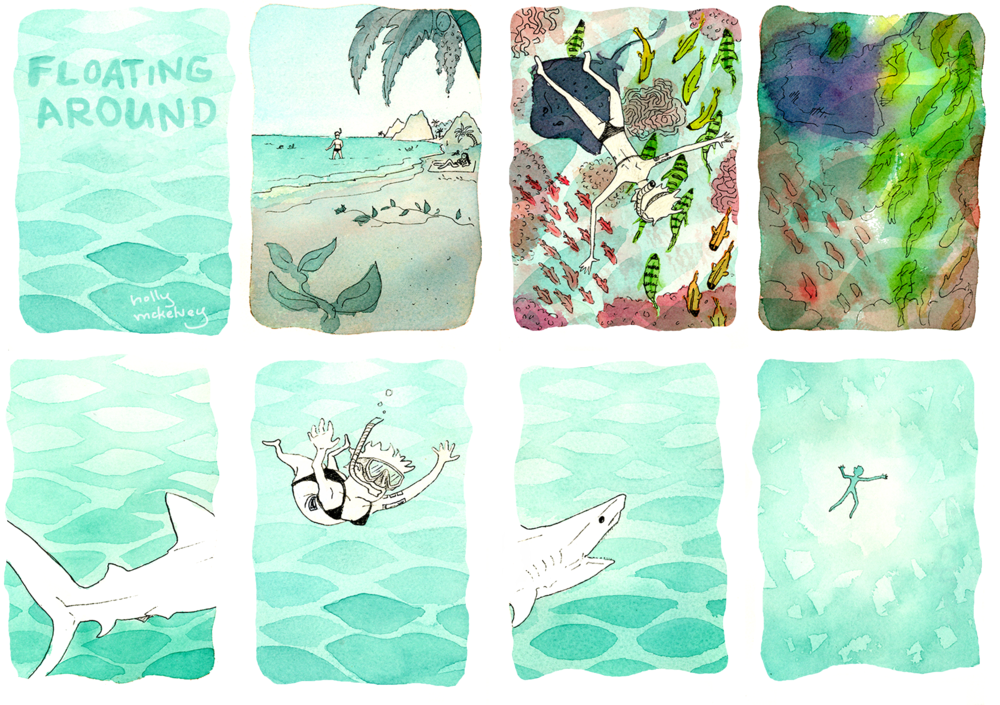 This was for a comic challenge where you draw four panels that tell a stand-alone story, and then add in an extra three that are also stand-alone, and which add another layer to the first story. My first story was quite simply me enjoying the experience of snorkeling in the tropics, but bemoaning the fact that I didn't have my contacts in to be able to see all the colours. The second story is the shark looking up and seeing someone swimming up above - extra scary since that person has just admitted to not being able to see anything!  The shark in question is a tiger shark, and although there have been reports of attacks or bites by these sharks, they are incredibly rare! For the most part sharks are either scared of humans or recognize that we're not their normal food source. Indeed, google tiger sharks and you'll find lovely videos of divers befriending them. So despite me using this one as a scary device, it is actually a very low risk - indeed, sharks are at far greater risk from humans than we are from them. Let's love us some tiger sharks!