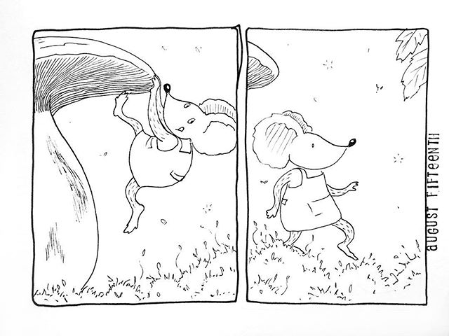 (227/365) On to the next adventure! . . #mouse #maus #themousetales #dailymice #forestfloor #forest #wald #mushroom #pilz #champignon #comic #comics #comicart #comicstrip #drawing #dailydrawing #dailyart #dailydoodle #womenwhodraw #illustration #art #ink #penandink #penandinkdrawing #graphicstorytelling #visualstorytelling #dailystory