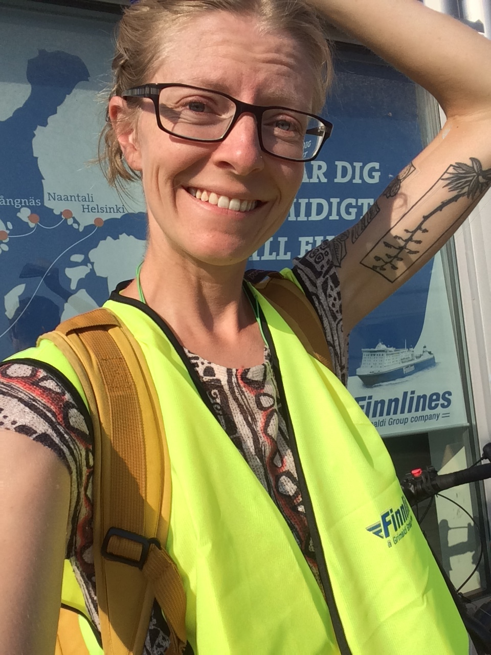 Me getting ready to get onto the ferry back down to Travemünde from Malmö - they gave me a high-vis jacket so that I could safely cycle onto the ferry along with the cars and trucks!