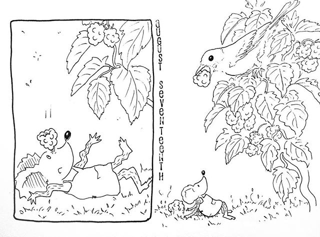 (229/365) Bird friend is also eating berries! . #mouse #maus #themousetales #dailymice #wildfood #blackberry #brambles #brombeeren #berrypicking #delicious #forestfloor #forest #wald #comic #comics #comicart #comicstrip #drawing #dailydrawing #dailyart #dailydoodle #womenwhodraw #illustration #art #ink #penandink #penandinkdrawing #graphicstorytelling #visualstorytelling #dailystory