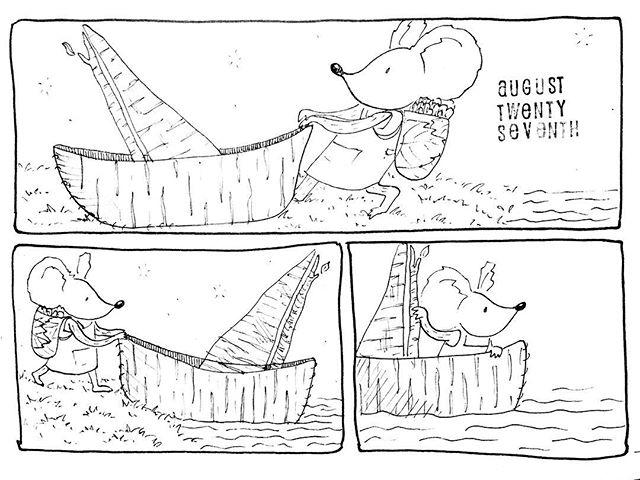 (239/365) Launching off! . #mouse #maus #themousetales #dailymice #hike #dayhike #forest #birch #treebark #wald #boat #birchbark #birchbarkcanoe #comic #comics #comicart #comicstrip #drawing #dailydrawing #dailyart #dailydoodle #womenwhodraw #illustration #art #ink #penandink #penandinkdrawing #graphicstorytelling #visualstorytelling #dailystory
