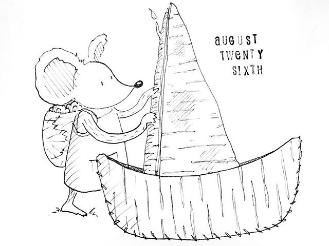 (238/365) Put the boat together. . It's still August, right? Asking for a friend... . #mouse #maus #themousetales #dailymice #hike #dayhike #forest #birch #treebark #wald #boat #birchbark #birchbarkcanoe #comic #comics #comicart #comicstrip #drawing #dailydrawing #dailyart #dailydoodle #womenwhodraw #illustration #art #ink #penandink #penandinkdrawing #graphicstorytelling #visualstorytelling #dailystory
