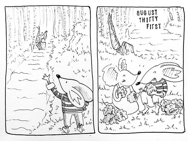 (242/365) Sharing berries is occasionally even better than eating them all yourself (only if you've already stuffed your face and reached the point where you're ready to share). . #mouse #maus #themousetales #dailymice #forest #birch #wald #berries #picnic #comic #comics #comicart #comicstrip #drawing #dailydrawing #dailyart #dailydoodle #womenwhodraw #illustration #art #ink #penandink #penandinkdrawing #graphicstorytelling #visualstorytelling #dailystory