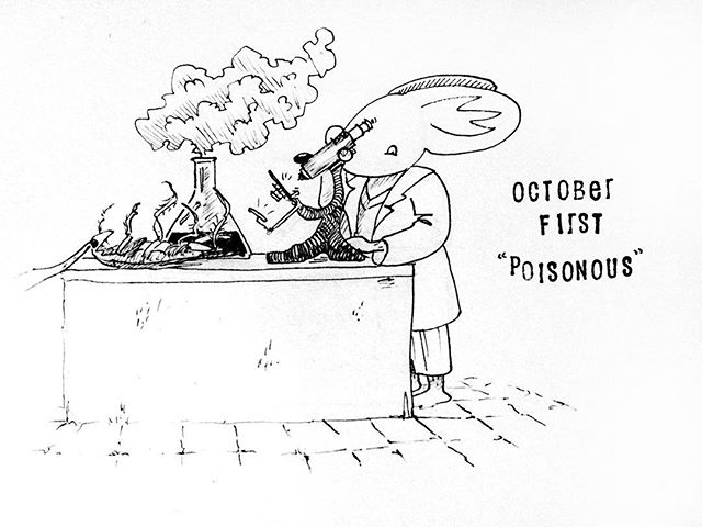 """(243/365) Guys, I'm back! It's October, which means Inktober, and that means getting back into the swing of things after having a lovely and much needed break in September. So I present you with the first word prompt of Inktober: """"poisonous""""! I guess there was some poisonous fluid in that beaker, which killed the cockroach, and Mr Mouse is doing some analyses? . . #mouse #maus #themousetales #dailymice #comic #comics #comicart #comicstrip #drawing #dailydrawing #dailyart #dailydoodle #womenwhodraw #illustration #art #ink #penandink #penandinkdrawing #graphicstorytelling #visualstorytelling #dailystory #inktober #inktober2018 #poisonous"""