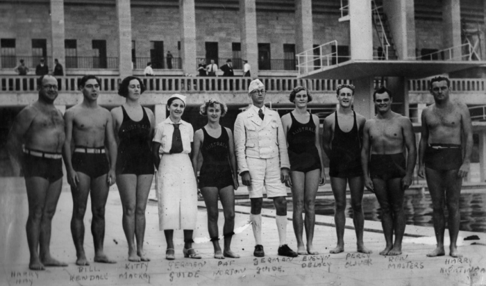 The Australian Swimming Team, Berlin, 1936. Evelyn de Lacy 4th from the right.