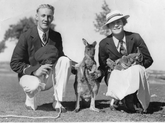 Percy Oliver and Evelyn de Lacy with the Australian Mascot, 'Aussie'