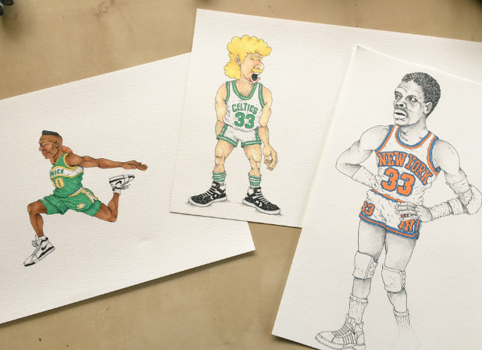 My eyes could be shut and I'd still be able to draw Larry Bird. He has one of the best stories in the history of sports; he was a garbage man, quit school and went on to be the best players of all time. He is a hero of mine, especially as a 6ft9 white guy with big dreams growing up in a small town like Indiana, just like Larry. Patrick Ewing was apart of that 90's New York Knicks bruiser team. I'll never forget their toughness and the way they never took a step back. The iconic image of Sean Kemp gliding through the air is something I've always wanted to draw. I'd rather draw guys from this era than the current guys just because they're the ones I remember and provide niche value to the guys that loved the sport back then.