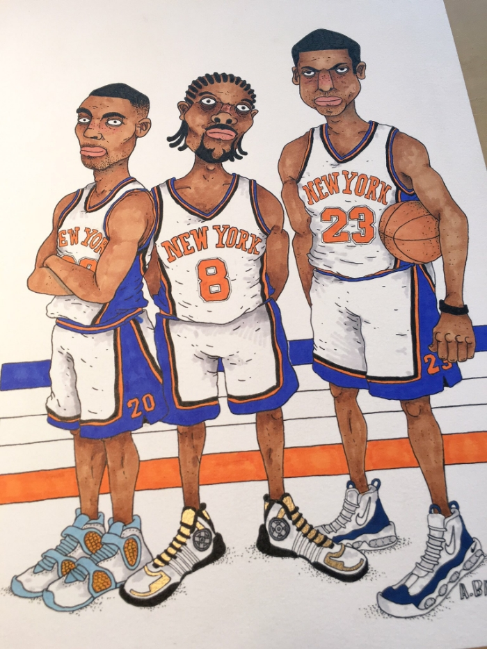 An old magazine gave me inspiration to draw Latrell Sprewell, Allan Houston and Marcus Camby. How can't you love the shoes of this time? They were called 'Spinner shoes'; they actually had spinners on the side. These are the things people connect with. It brings back memories of an era, which I loved.
