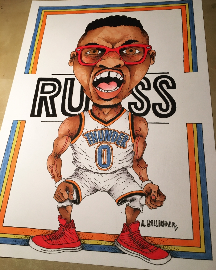 One thing I love most about drawing is letting my imagination run wild. This was an opportunity with this Russell Westbrook commission piece. Rusty is a fashion king so wanted to put together a montage of what he has worn in the past.