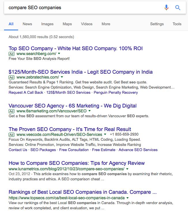 Search results for Compare SEO Companies