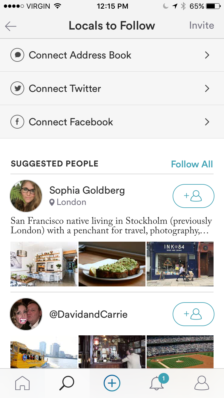 Spot App Locals to Follow Feature