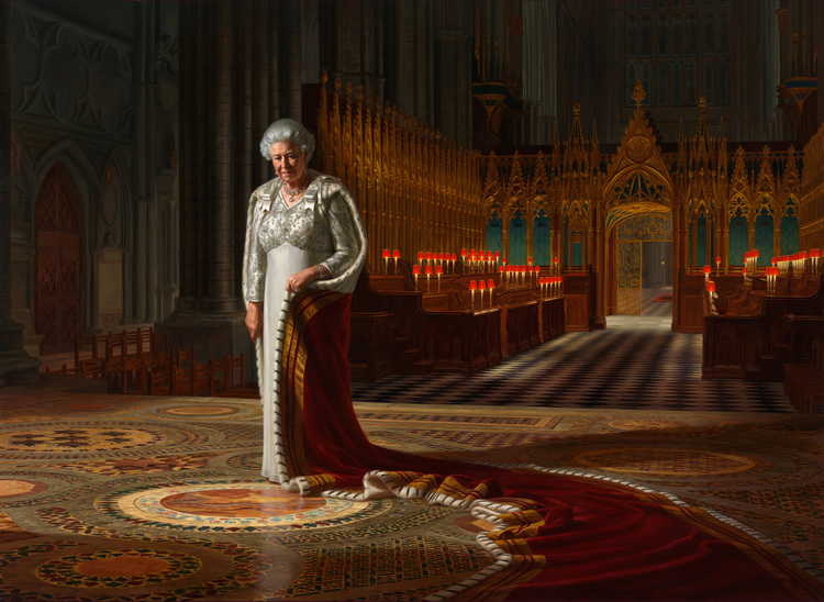 Ralph Heimans,  The Coronation Theatre: Her Majesty Queen Elizabeth II   Oil on canvas, 250 x 342cm Westminster Abbey Collection
