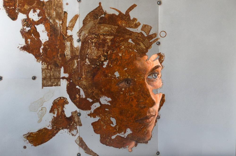 Sabatino Cersosimo - Fregio (Fourth Movement - Aqua) - Sabatino Cersosimo - oil and oxidations on 5 welded steel plates, 50x75 cm, 2016.jpg