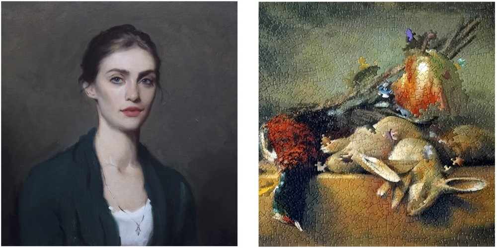 L-R: Isabella Watling,  Ana , 2013; Darren Coffield,  Dead Game III (After Chardin) , 2015