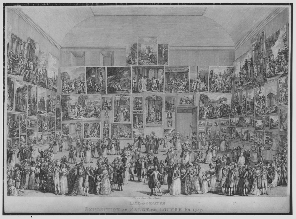The Exhibition at Salon De Louvre in 1787, an early example of a Salon Hanging. Source: The Elisha Whittelsey Collection,The Elisha Whittelsey Fund, 1949