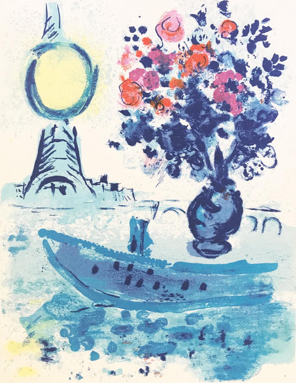 MARC CHAGALL   Regards sur Paris [Le bateau mouche au bouquet] , 1960  Original lithograph on Japan paper, 39 x 30 cm  £1,200   enquire >