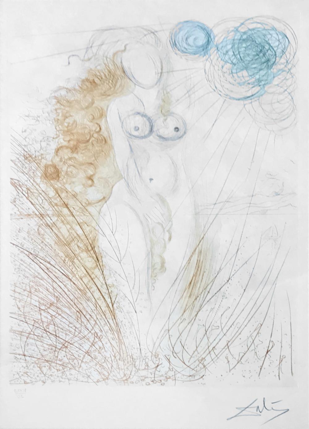 SALVADOR DALÍ   La Naissance de Venus  [ The Birth of Venus ], 1971  Original etching in black ink with stencil colours on BFK Rives watermarked paper, 75.7 x 56.5 cm. Épreuve d'artiste [EA] Artist Proof  £2,300   enquire >