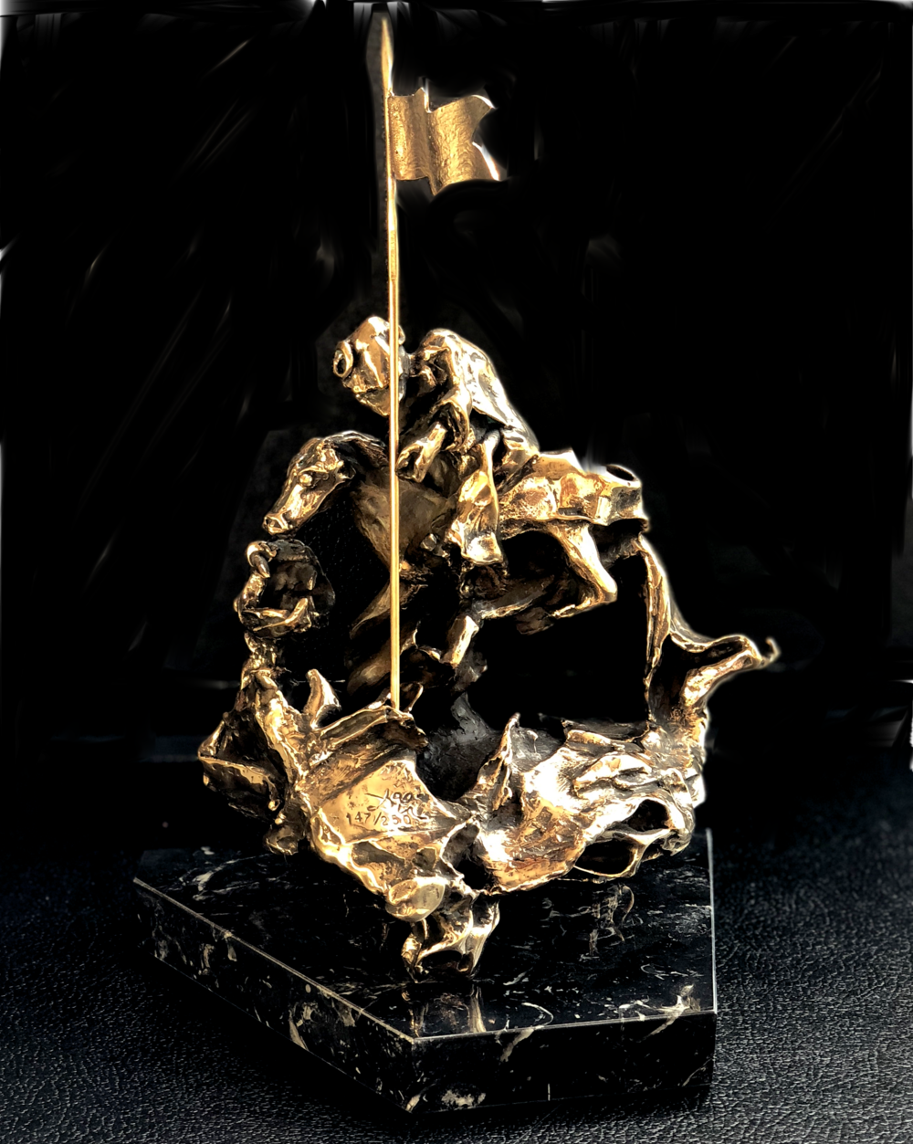 SALVADOR DALÍ   Saint George terrassant le dragon [Saint George Slaying the Dragon] , c. 1971  Original gold patinated bronze sculpture, on black marble base. Signed by the artist. Edition of 1000. 31 x 22.5 x 16 cm  Accompanied by a certificate of authenticity.  £3,800   enquire >