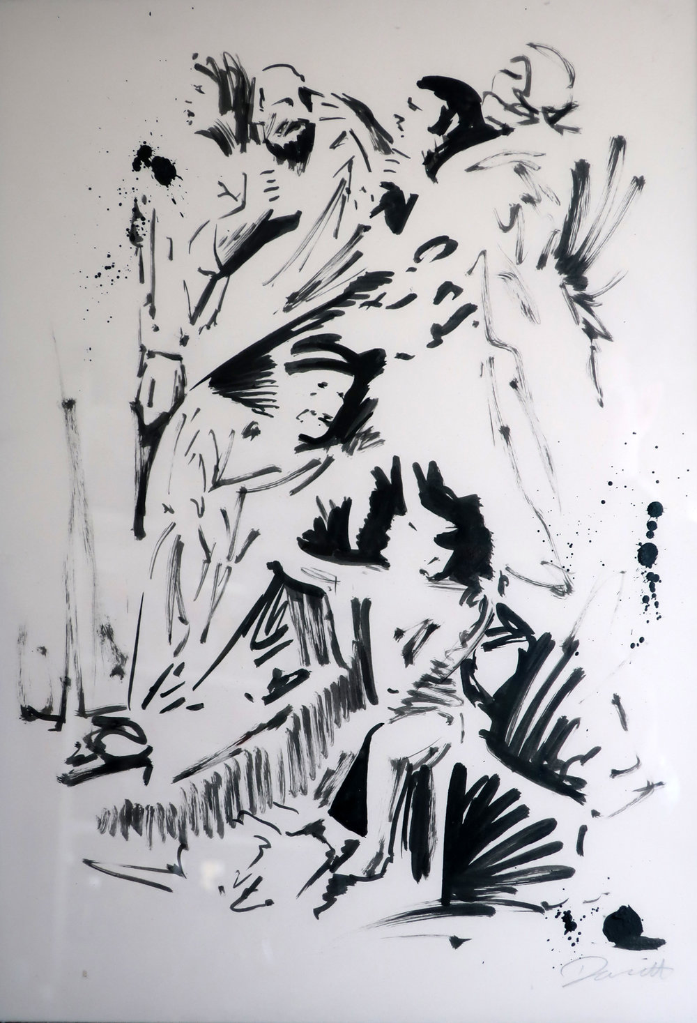DARREN COFFIELD   Figurative Group  ( after Poussin's Triumph of David ), 2017 India ink on paper, framed 46 x 34 cm  © Darren Coffield, London