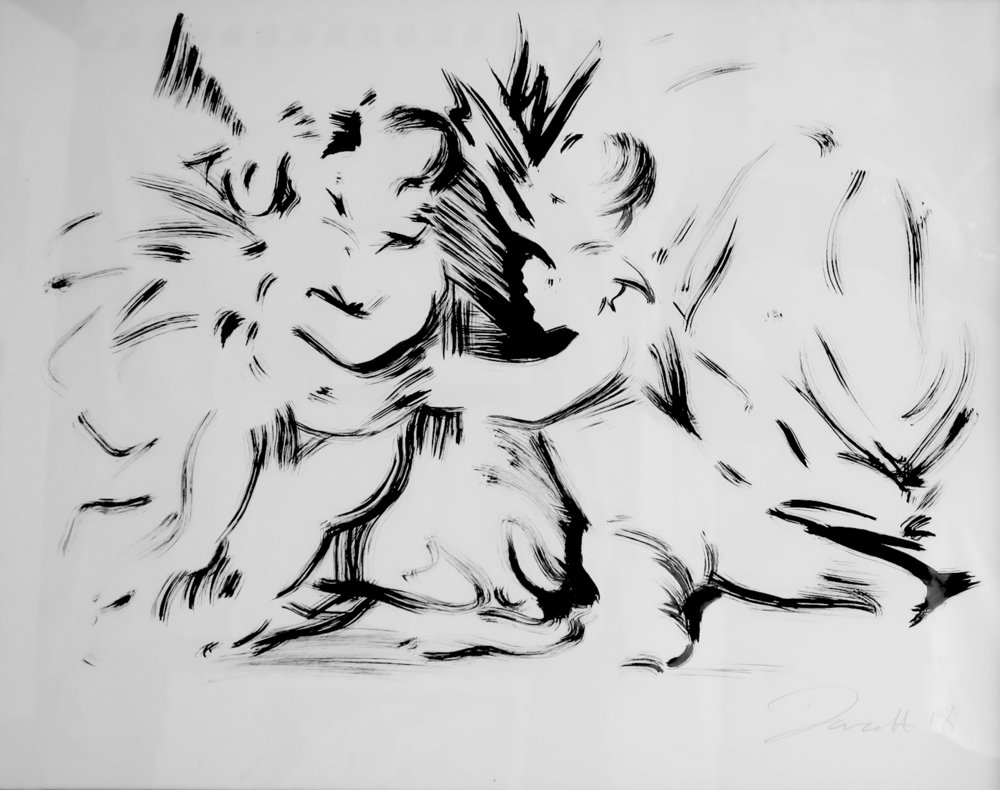 DARREN COFFIELD   Child Study  ( after Poussin's Triumph of David ), 2017 India ink on paper, framed 39 x 52 cm  © Darren Coffield, London