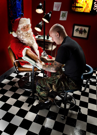 Santa gets a tattoo
