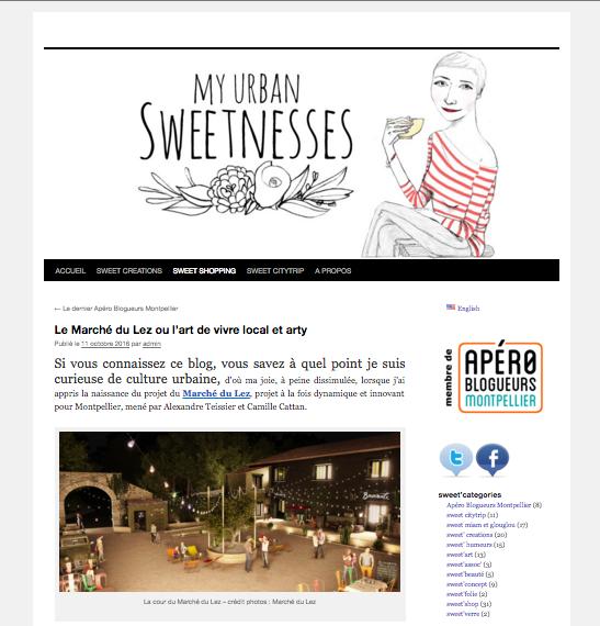 La blogueuse Jeanne - My urbansweetnesses- parle beaucoup du Marché du Lez, et un peu de La Baraquette.