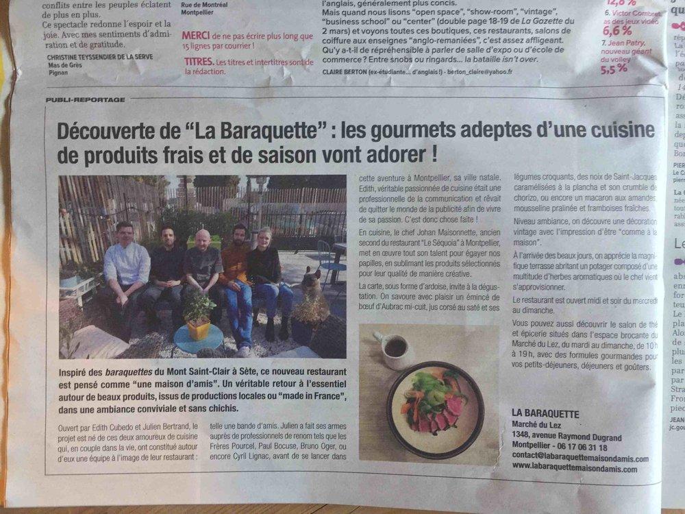 Chouette article dans  La Gazette Montpellier  , et jolie photo de la Bande de La Baraquette - oui, oui, le chien ça compte aussi